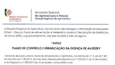 Aviso da DGAV: plano de controlo e erradicação da doença de Aujeszky